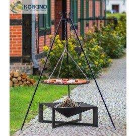 Black steel grate on 180 cm tripod with reel + firebowl 330