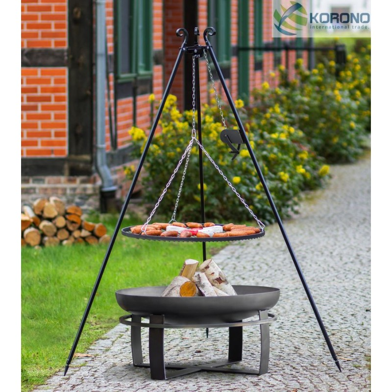 Black steel grate on 180 cm tripod with reel + firebowl with hole 345