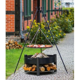 Black steel grate on 180 cm tripod with reel + firebowl 325