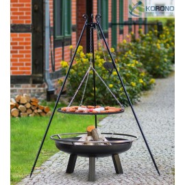 Black steel grate on 180 cm tripod with reel + firebowl with hole 340
