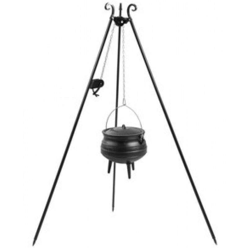180cm grill tripod with Winch + Cast-iron African goulash pot 6L, 9L, 13L