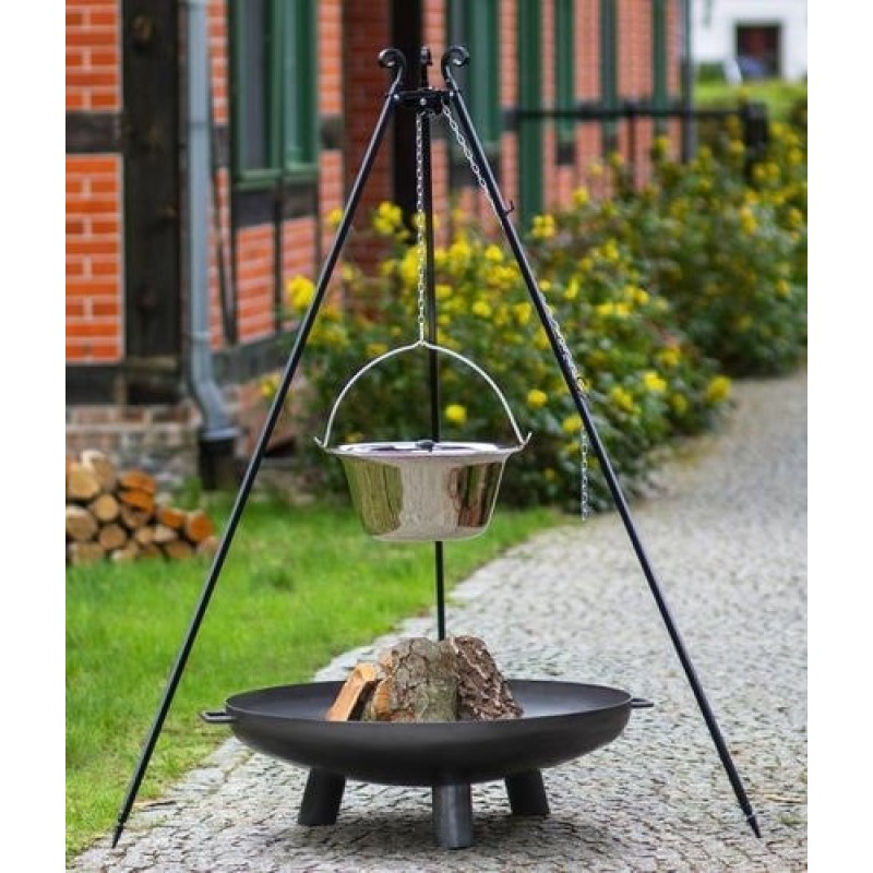 Stainless steel goulash pot 10 L, 14 L on 180 cm tripod + firebowl 301 Ø 70cm, 80cm