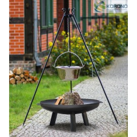 Stainless steel goulash pot 10 L, 14 L on 180 cm tripod + firebowl 310 Ø 70cm, 80cm