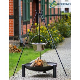 Stainless steel goulash pot 10 L, 14 L on 180 cm tripod + firebowl 315 Ø 70cm, 80cm