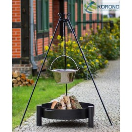 Stainless steel goulash pot 10 L, 14 L on 180 cm tripod + firebowl 320 Ø 70cm, 80cm