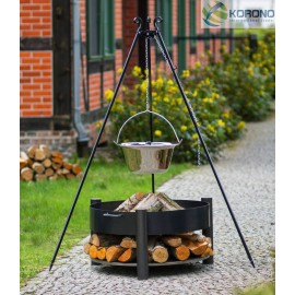 Stainless steel goulash pot 10 L, 14 L on 180 cm tripod + firebowl 325 Ø 60cm, 70cm