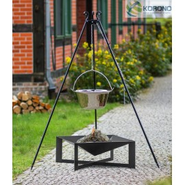 Stainless steel goulash pot 10 L, 14 L on 180 cm tripod + firebowl 330 Ø 70cm