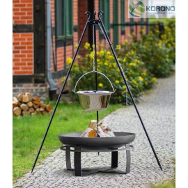 Stainless steel goulash pot 10 L, 14 L on 180 cm tripod + firebowl 345 Ø 70cm, 80cm
