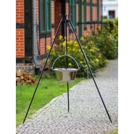 180cm grill tripod + stainless steel goulash pot 10L, 14L