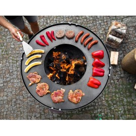 Premium Fire bowl, fireplace, barbeque 160 - Ø 85cm + grill plate Ø 82cm