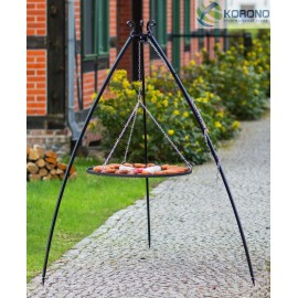 200cm tripod with curved legs + Black steel grate Ø 50cm, 60cm, 70cm, 80cm