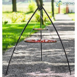 200cm tripod with curved legs + 2 Black steel grate Ø 70cm, 80cm + 40cm