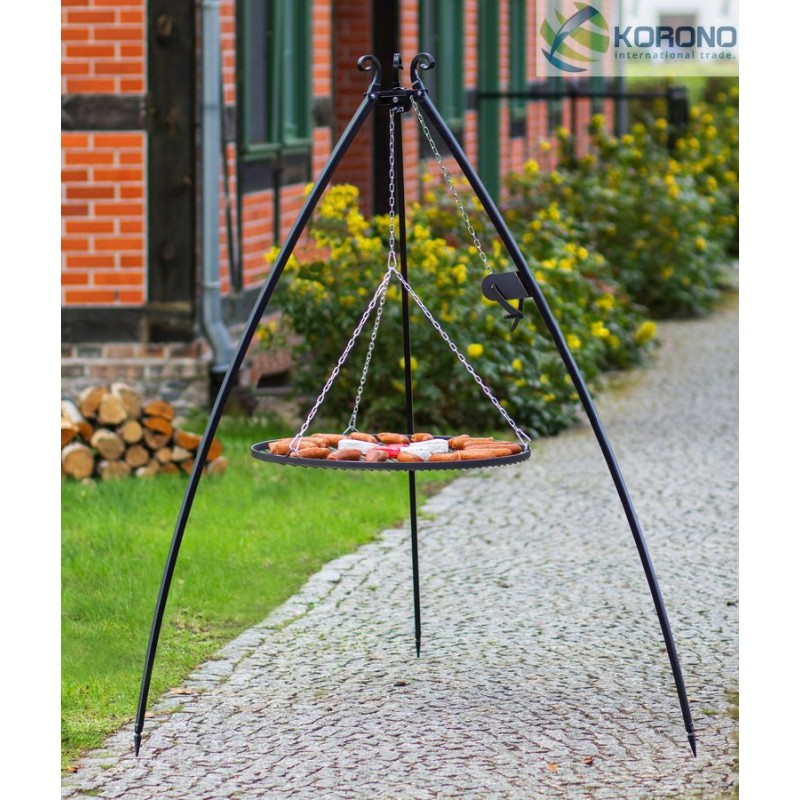 200cm tripod with curved legs and reel + Black steel grate Ø 50cm, 60cm, 70cm, 80cm, 90cm, 100cm