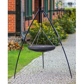200cm tripod with curved legs + Black steel PAN / WOK Ø 60cm, 70cm