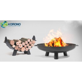 Fire bowl, fireplace, barbeque 301 - Ø 80cm + wood rack 80cm