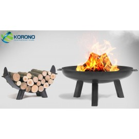 Fire bowl, fireplace, barbeque 310 - Ø 80cm + wood rack 80cm