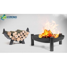 Fire bowl, fireplace, barbeque 315 - Ø 80cm + wood rack 80cm