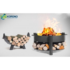 Fire bowl, fireplace, barbeque 325 Ø 70cm + wood rack 80cm