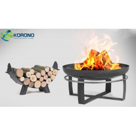 Fire bowl, fireplace, barbeque 345 - Ø 80cm + wood rack 80cm