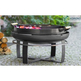 Fire bowl, fireplace, barbeque 345 - Ø 80cm + 3 chamber pan with holder Ø 70cm