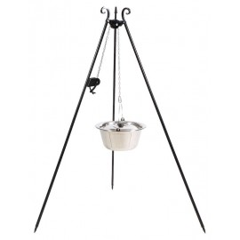 180cm grill tripod with Winch + stainless steel goulash pot 10L, 14L